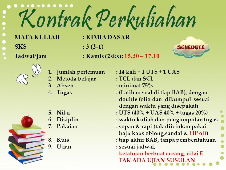 KIMIA DASAR TEAM KIMIA DASAR Jurusan Kimia Universitas Andalas Padang