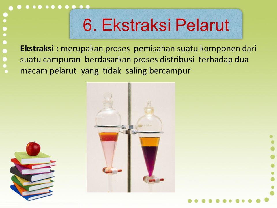 5. Distilasi ►► Pemisahan dua atau lebih campuran berwujud cair berdasarkan perbedaan titik didihnya