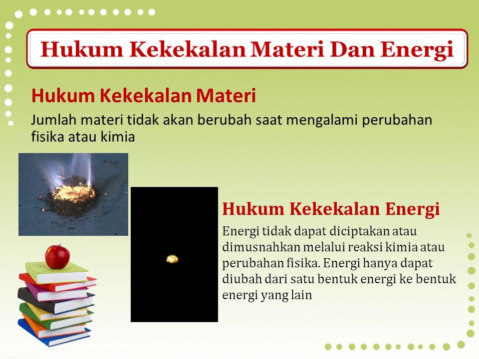 Materi adalah segala sesuatu yang memiliki massa dan menempati ruang Massa adalah ukuran yang menunjukan jumlah materi dalam suatu sampel Energi adala