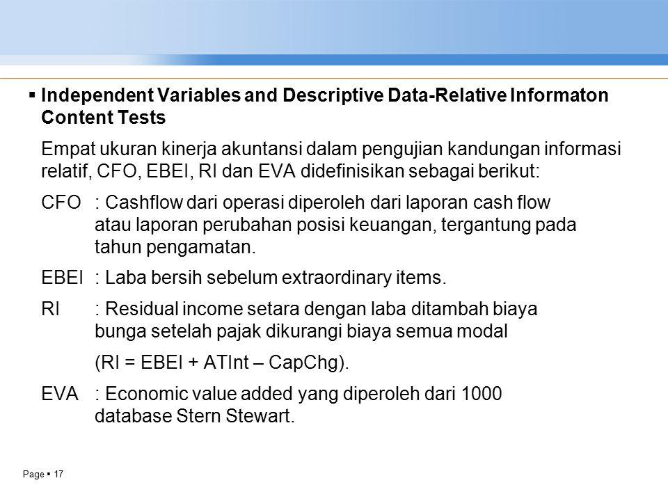 Page  17  Independent Variables and Descriptive Data-Relative Informaton Content Tests Empat ukuran kinerja akuntansi dalam pengujian kandungan info