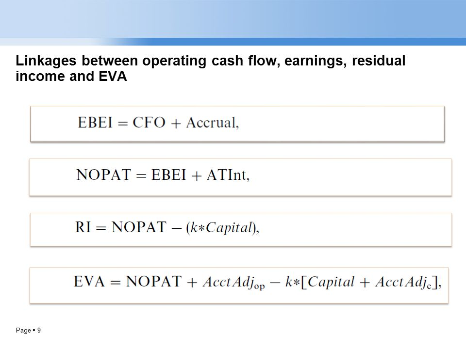Page  9 Linkages between operating cash flow, earnings, residual income and EVA