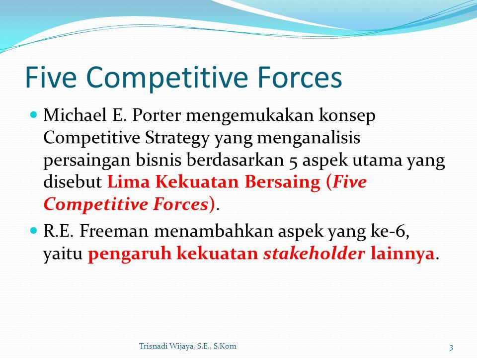 Five Competitive Forces Michael E. Porter mengemukakan konsep Competitive Strategy yang menganalisis persaingan bisnis berdasarkan 5 aspek utama yang