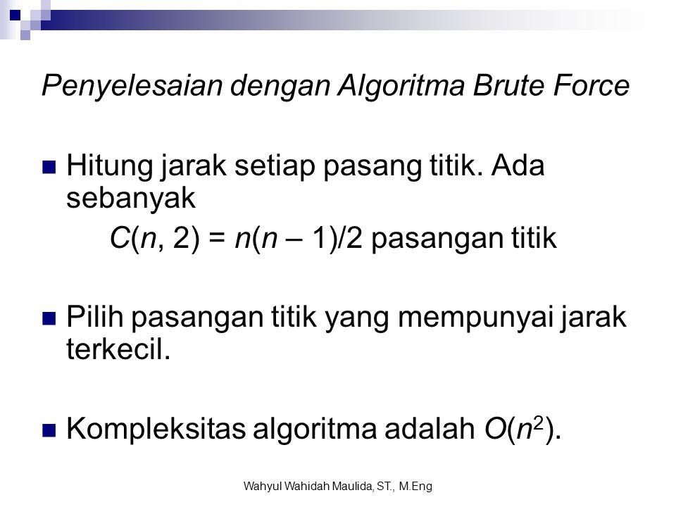 Penyelesaian dengan Algoritma Brute Force Hitung jarak setiap pasang titik.
