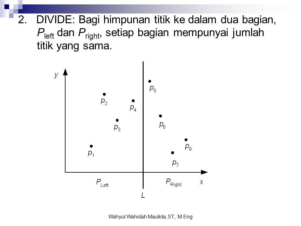 2. DIVIDE: Bagi himpunan titik ke dalam dua bagian, P left dan P right, setiap bagian mempunyai jumlah titik yang sama. Wahyul Wahidah Maulida, ST., M