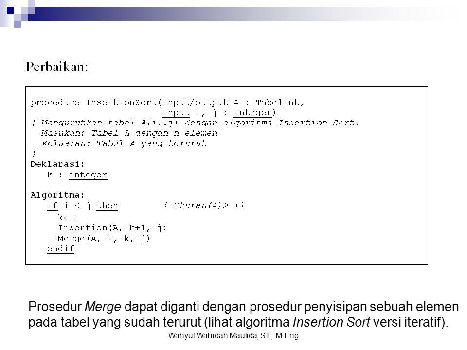 Prosedur Merge dapat diganti dengan prosedur penyisipan sebuah elemen pada tabel yang sudah terurut (lihat algoritma Insertion Sort versi iteratif).