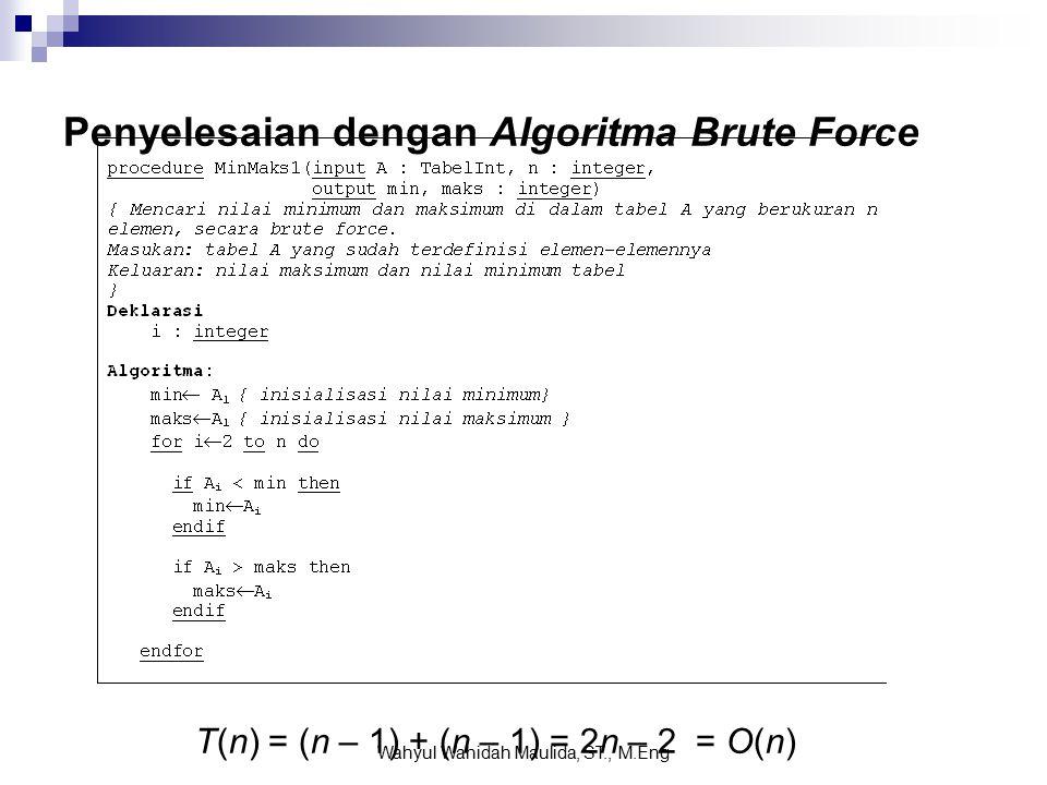 Penyelesaian dengan Algoritma Brute Force T(n) = (n – 1) + (n – 1) = 2n – 2 = O(n) Wahyul Wahidah Maulida, ST., M.Eng