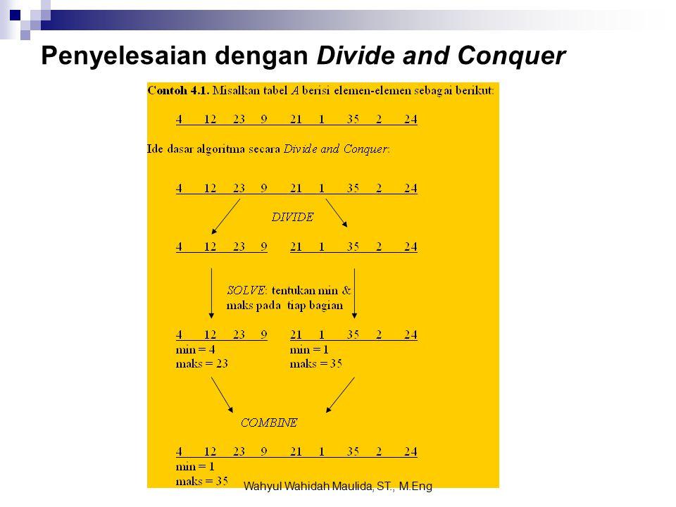 Penyelesaian dengan Divide and Conquer Wahyul Wahidah Maulida, ST., M.Eng