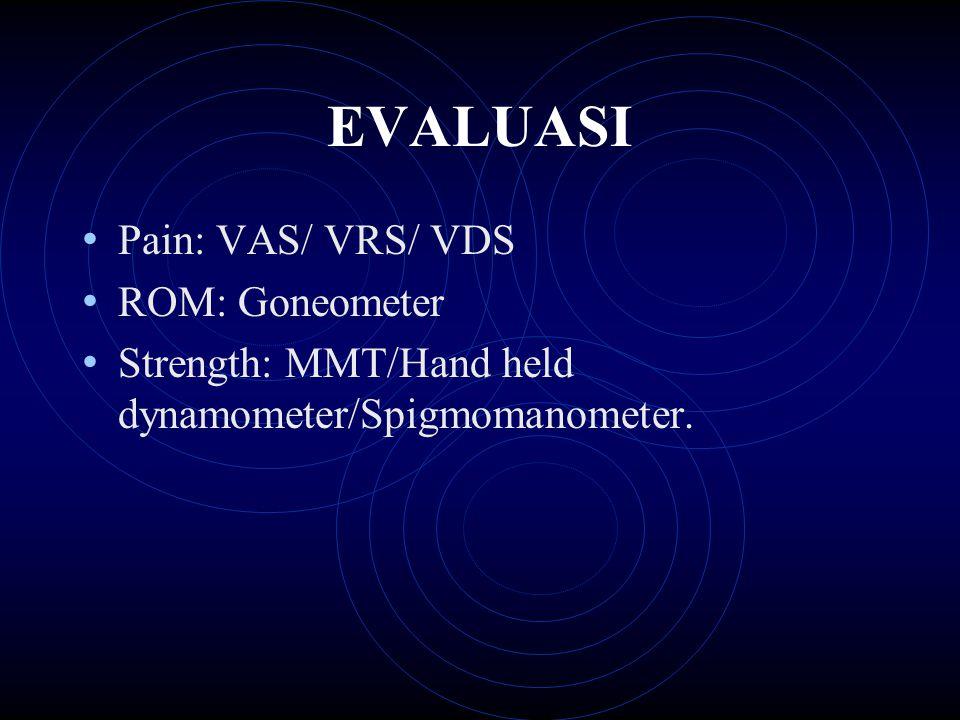 EVALUASI Pain: VAS/ VRS/ VDS ROM: Goneometer Strength: MMT/Hand held dynamometer/Spigmomanometer.