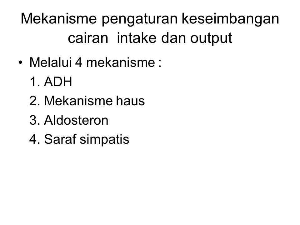 Mekanisme pengaturan keseimbangan cairan intake dan output Melalui 4 mekanisme : 1. ADH 2. Mekanisme haus 3. Aldosteron 4. Saraf simpatis
