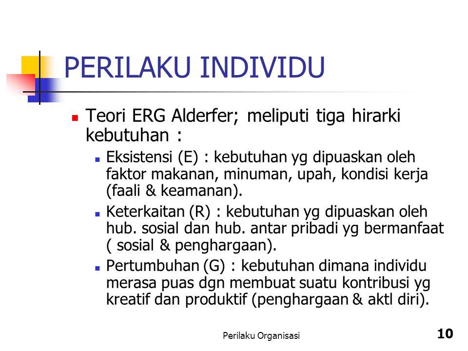 Perilaku Organisasi 10 PERILAKU INDIVIDU Teori ERG Alderfer; meliputi tiga hirarki kebutuhan : Eksistensi (E) : kebutuhan yg dipuaskan oleh faktor mak
