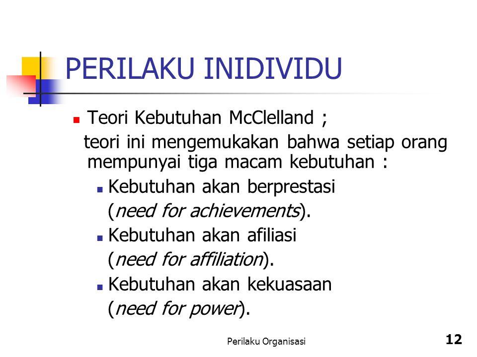 Perilaku Organisasi 12 PERILAKU INIDIVIDU Teori Kebutuhan McClelland ; teori ini mengemukakan bahwa setiap orang mempunyai tiga macam kebutuhan : Kebu
