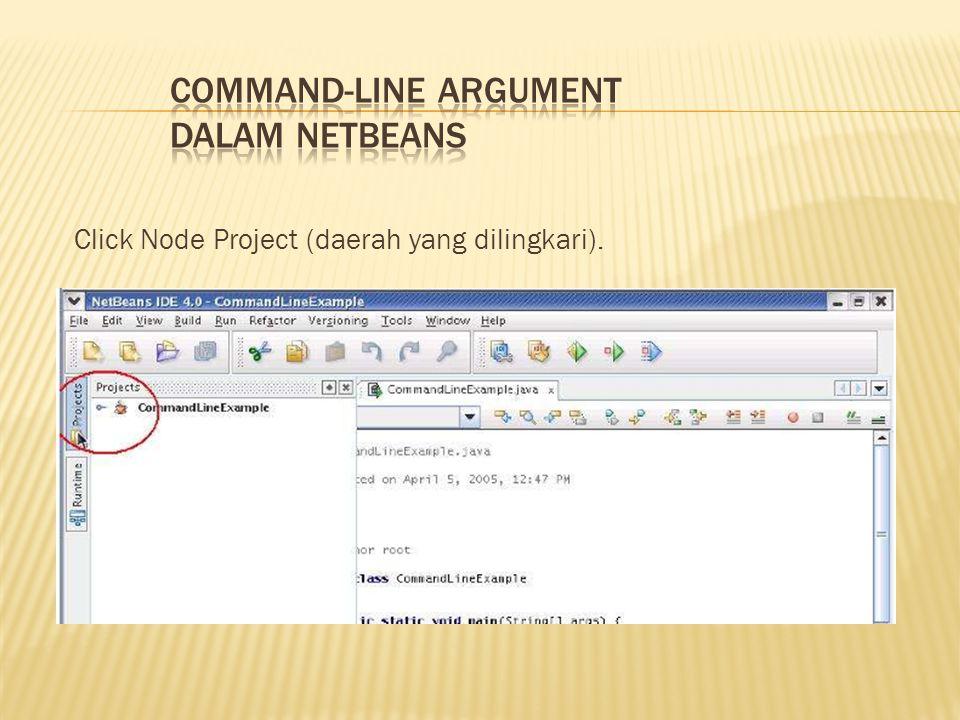 Click Node Project (daerah yang dilingkari).