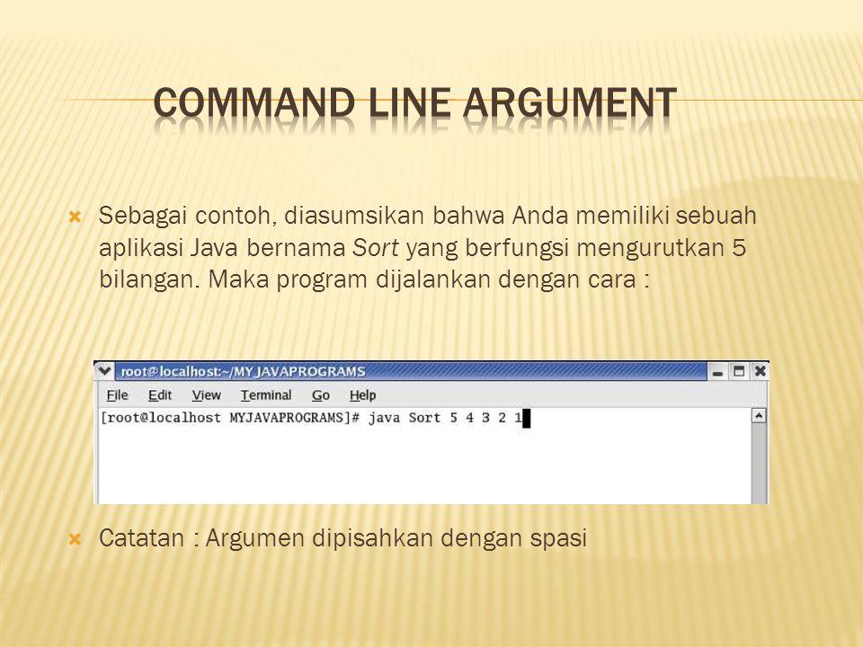 Di Java, pada saat Anda akan melakukan pemanggilan terhadap suatu aplikasi, JRE melakukan passing argument menuju method main() pada aplikasi melalui array String.