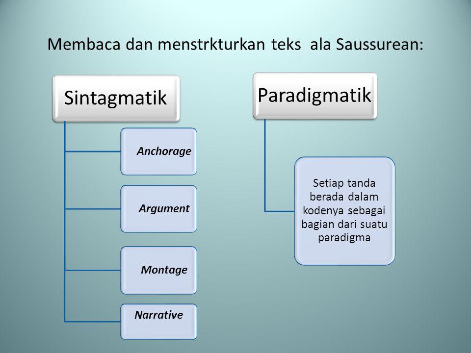 Membaca dan menstrkturkan teks ala Saussurean: Sintagmatik AnchorageArgumentMontage Narrative Paradigmatik Setiap tanda berada dalam kodenya sebagai bagian dari suatu paradigma