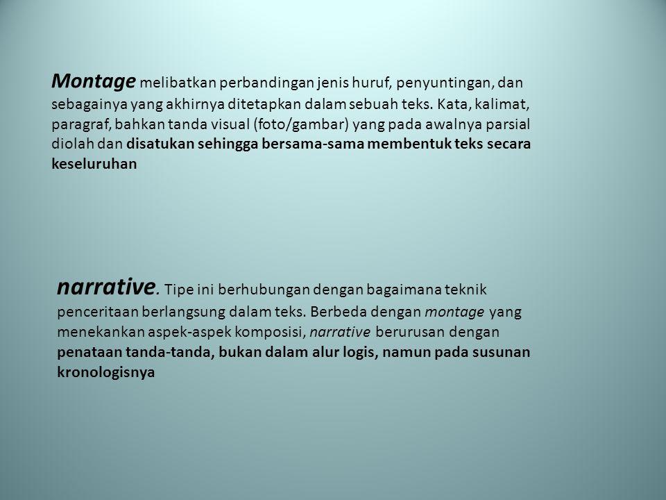 Montage melibatkan perbandingan jenis huruf, penyuntingan, dan sebagainya yang akhirnya ditetapkan dalam sebuah teks. Kata, kalimat, paragraf, bahkan