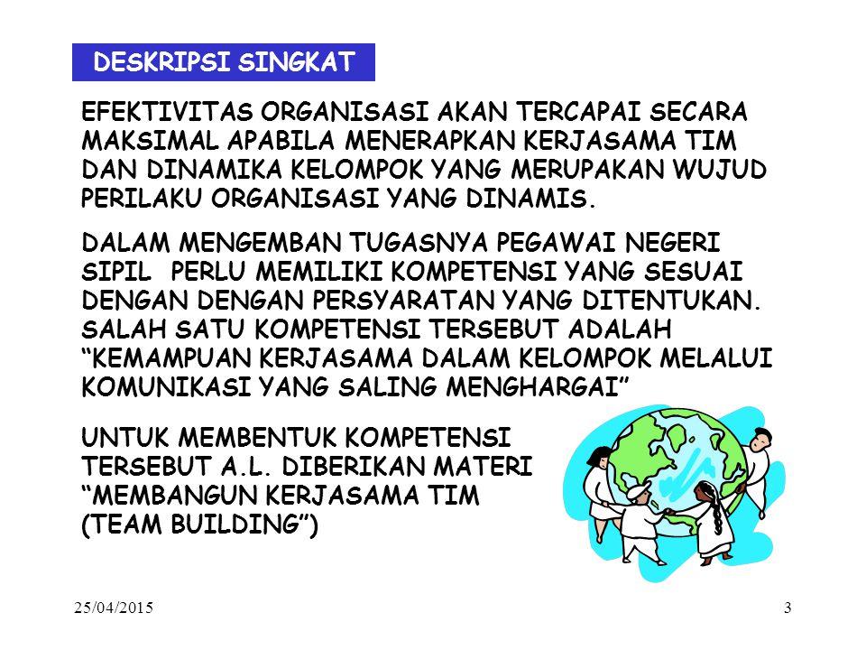 25/04/20153 DESKRIPSI SINGKAT EFEKTIVITAS ORGANISASI AKAN TERCAPAI SECARA MAKSIMAL APABILA MENERAPKAN KERJASAMA TIM DAN DINAMIKA KELOMPOK YANG MERUPAKAN WUJUD PERILAKU ORGANISASI YANG DINAMIS.