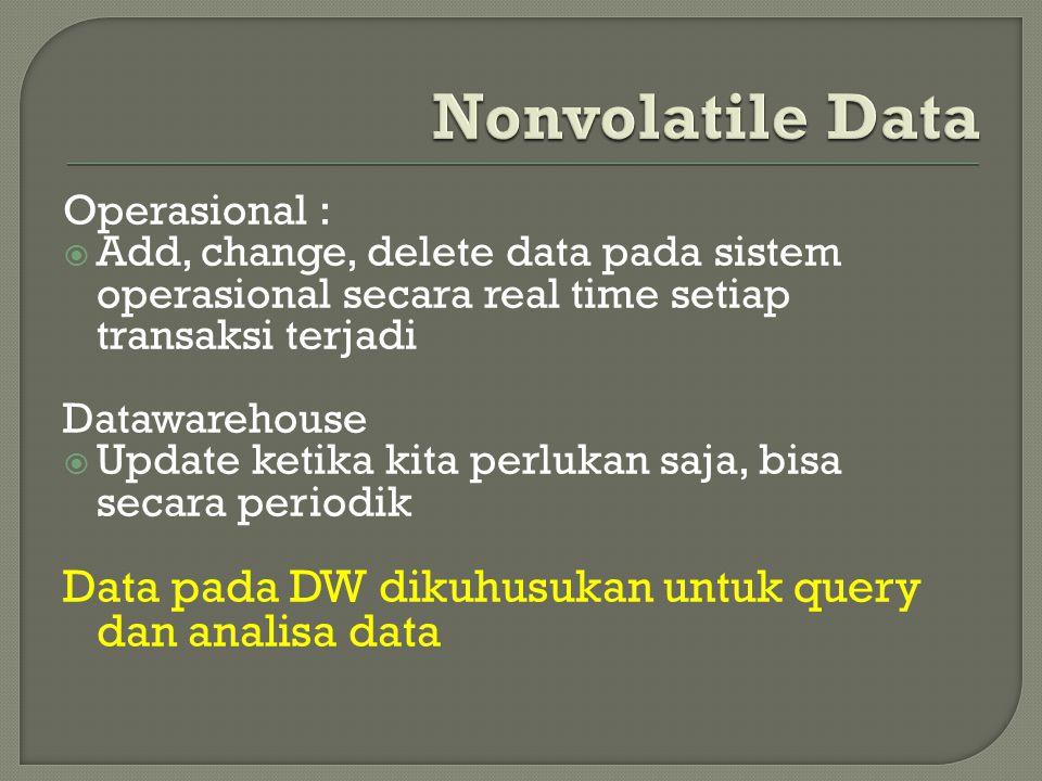 Operasional :  Add, change, delete data pada sistem operasional secara real time setiap transaksi terjadi Datawarehouse  Update ketika kita perlukan