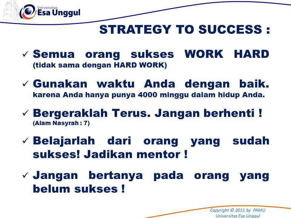 Copyright © 2011 by PAMU Universitas Esa Unggul Semua orang sukses WORK HARD (tidak sama dengan HARD WORK) Gunakan waktu Anda dengan baik.