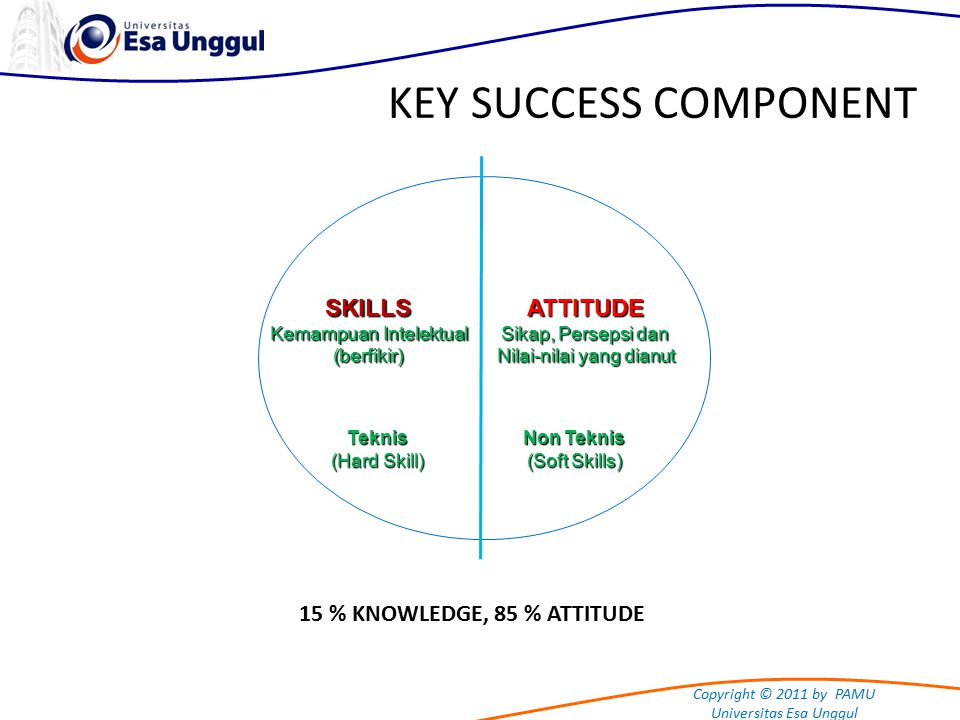 Copyright © 2011 by PAMU Universitas Esa Unggul KEY SUCCESS COMPONENT Teknis (Hard Skill) Non Teknis (Soft Skills) ATTITUDE Sikap, Persepsi dan Nilai-nilai yang dianut SKILLS Kemampuan Intelektual (berfikir) 15 % KNOWLEDGE, 85 % ATTITUDE