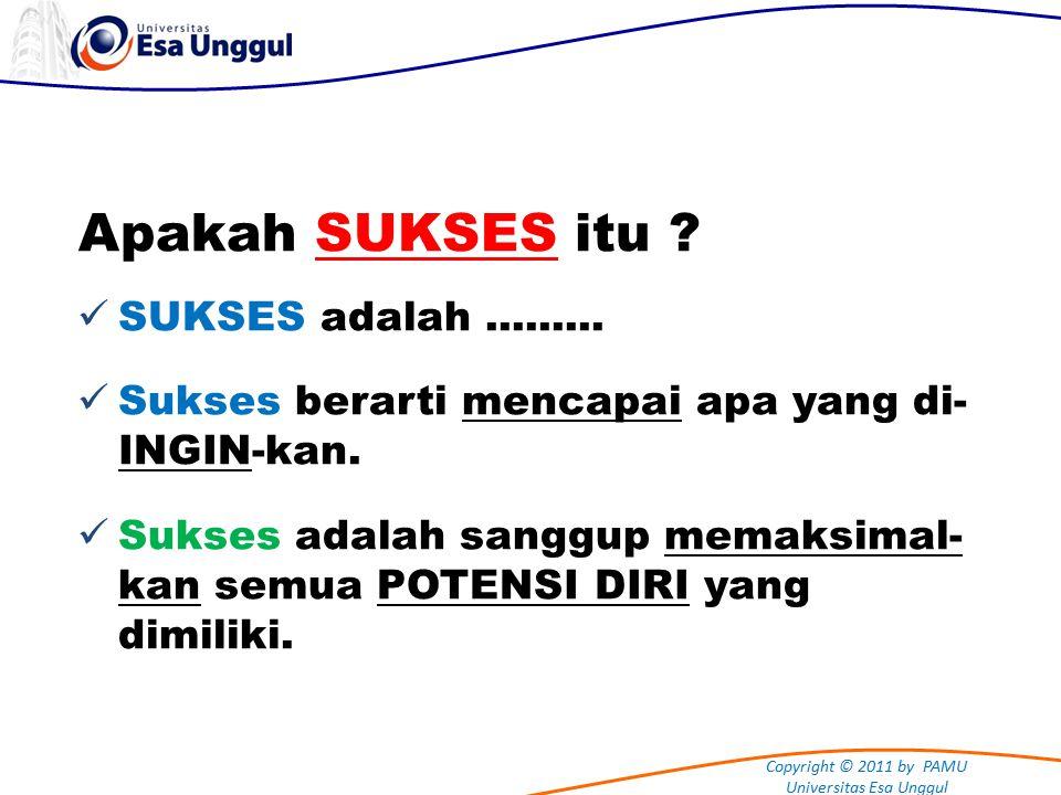 Copyright © 2011 by PAMU Universitas Esa Unggul Apakah SUKSES itu .