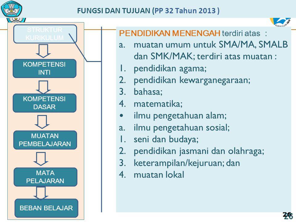 26 FUNGSI DAN TUJUAN (PP 32 Tahun 2013 ) STRUKTUR KURIKULUM 26 MUATAN PEMBELAJARAN KOMPETENSI DASAR KOMPETENSI INTI MATA PELAJARAN BEBAN BELAJAR PENDIDIKAN MENENGAH terdiri atas : a.muatan umum untuk SMA/MA, SMALB dan SMK/MAK; terdiri atas muatan : 1.pendidikan agama; 2.pendidikan kewarganegaraan; 3.bahasa; 4.matematika; ilmu pengetahuan alam; a.ilmu pengetahuan sosial; 1.seni dan budaya; 2.pendidikan jasmani dan olahraga; 3.keterampilan/kejuruan; dan 4.muatan lokal