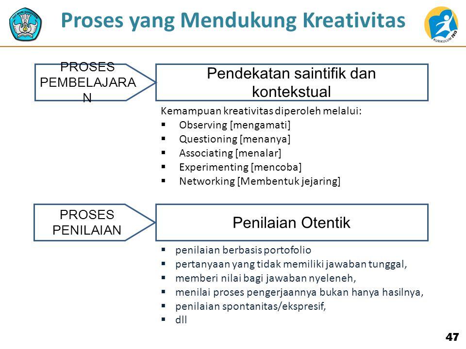 47 PROSES PEMBELAJARA N PROSES PENILAIAN Kemampuan kreativitas diperoleh melalui:  Observing [mengamati]  Questioning [menanya]  Associating [menalar]  Experimenting [mencoba]  Networking [Membentuk jejaring] Proses yang Mendukung Kreativitas Pendekatan saintifik dan kontekstual  penilaian berbasis portofolio  pertanyaan yang tidak memiliki jawaban tunggal,  memberi nilai bagi jawaban nyeleneh,  menilai proses pengerjaannya bukan hanya hasilnya,  penilaian spontanitas/ekspresif,  dll Penilaian Otentik