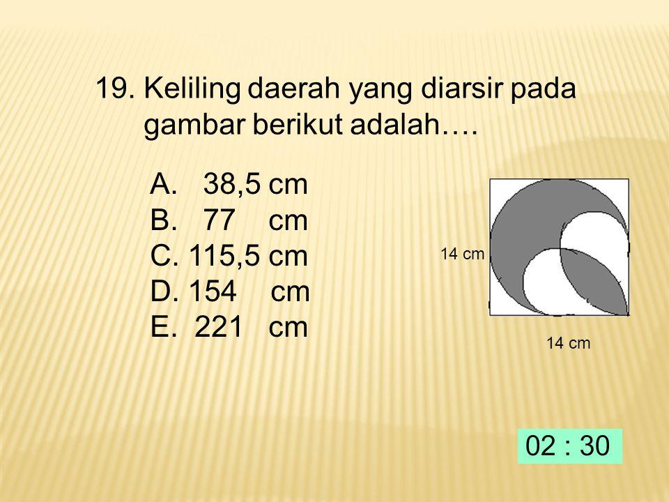 18. Jumlah tak terhingga deret geometri dengan suku pertama 12 dan rasio adalah …. A.64 B.48 C. 36 D. 32 E. 16