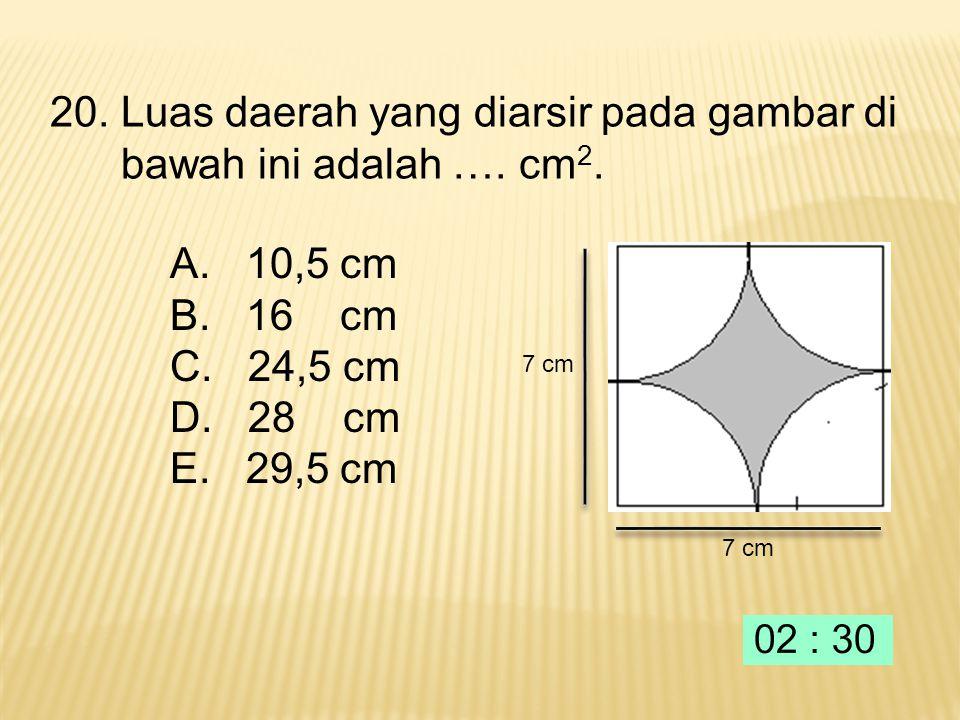 14 cm 19. Keliling daerah yang diarsir pada gambar berikut adalah…. 14 cm A. 38,5 cm B. 77 cm C. 115,5 cm D. 154 cm E. 221 cm
