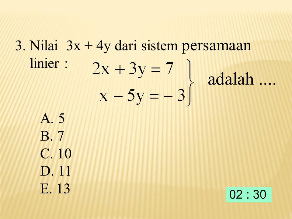 ) 5 ( ) A. E. D. C. B. 4. Nilai dari adalah ….