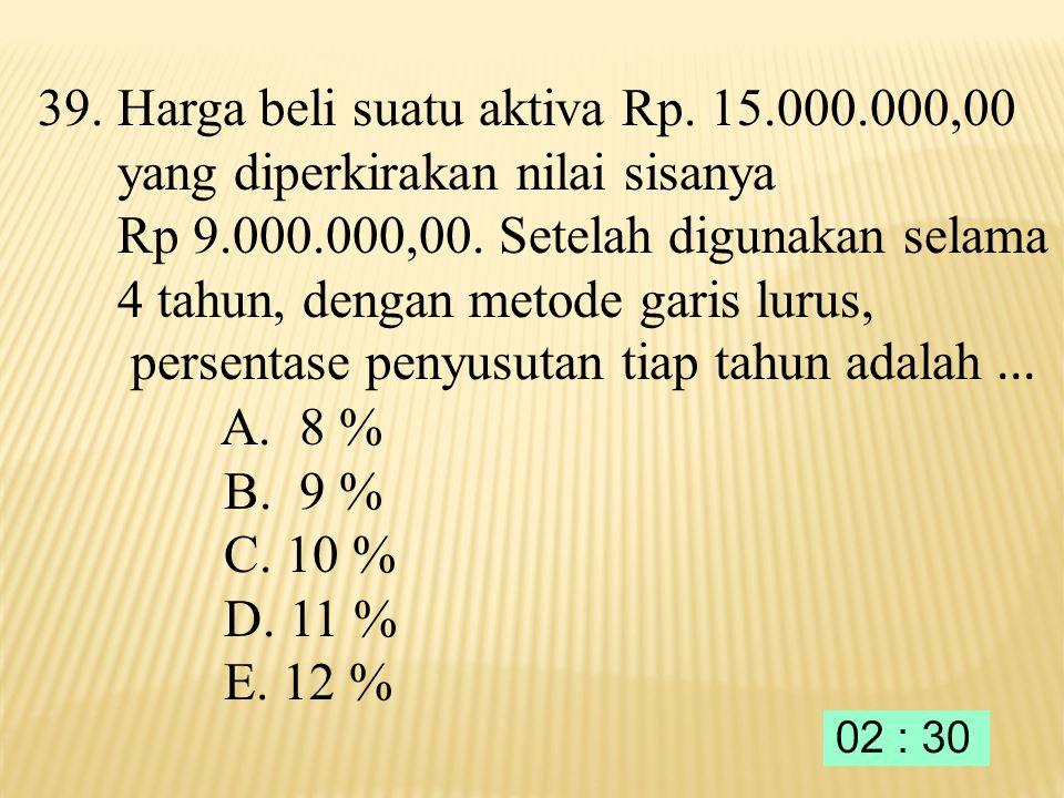 38. Jika besar pinjaman Rp. 3.000.000,00 dengan suku bunga 3% perbulan, besar angsuran pertama Rp. 460.000,00 maka besar bunga yang harus dibayar pada