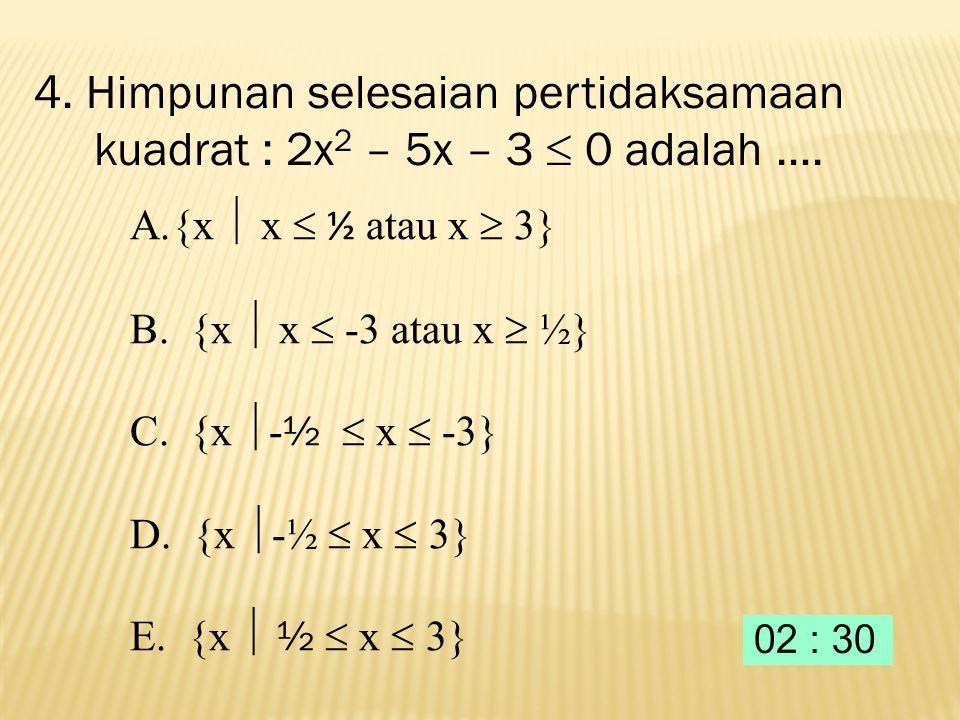 3. Nilai 3x + 4y dari sistem persamaan linier : adalah.... A. 5 B. 7 C. 10 D. 11 E. 13