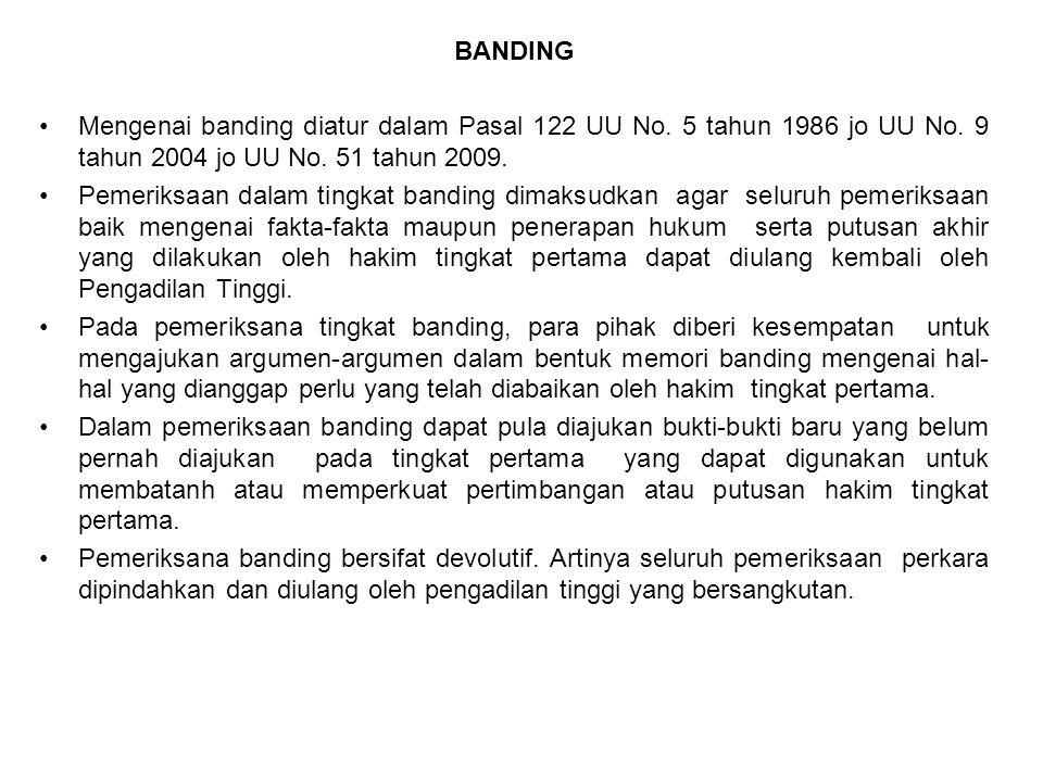 BANDING Mengenai banding diatur dalam Pasal 122 UU No. 5 tahun 1986 jo UU No. 9 tahun 2004 jo UU No. 51 tahun 2009. Pemeriksaan dalam tingkat banding