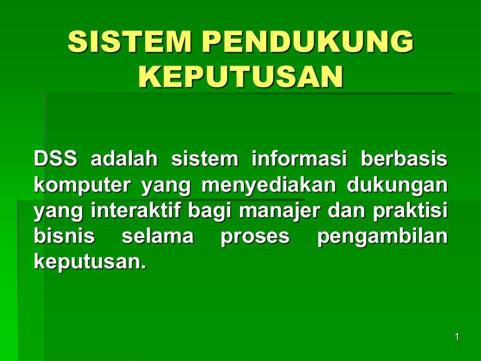 1 SISTEM PENDUKUNG KEPUTUSAN DSS adalah sistem informasi berbasis komputer yang menyediakan dukungan yang interaktif bagi manajer dan praktisi bisnis