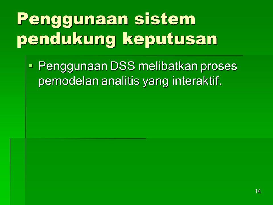 14 Penggunaan sistem pendukung keputusan  Penggunaan DSS melibatkan proses pemodelan analitis yang interaktif.