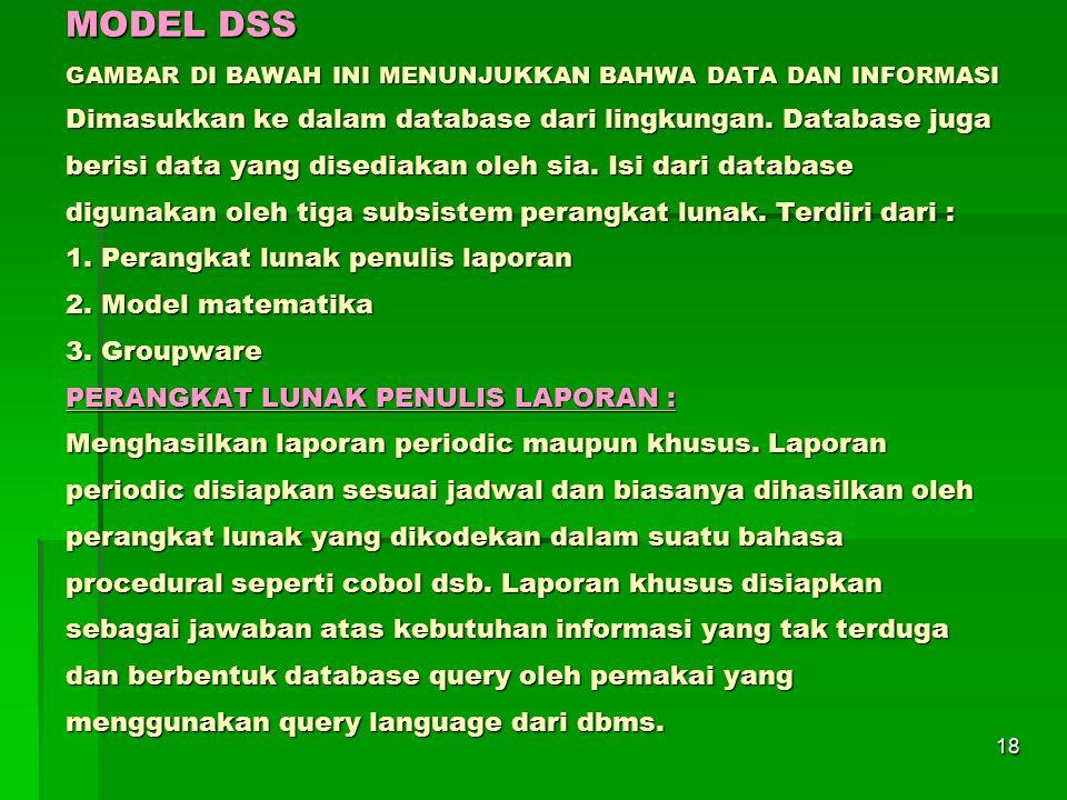 18 MODEL DSS GAMBAR DI BAWAH INI MENUNJUKKAN BAHWA DATA DAN INFORMASI Dimasukkan ke dalam database dari lingkungan. Database juga berisi data yang dis