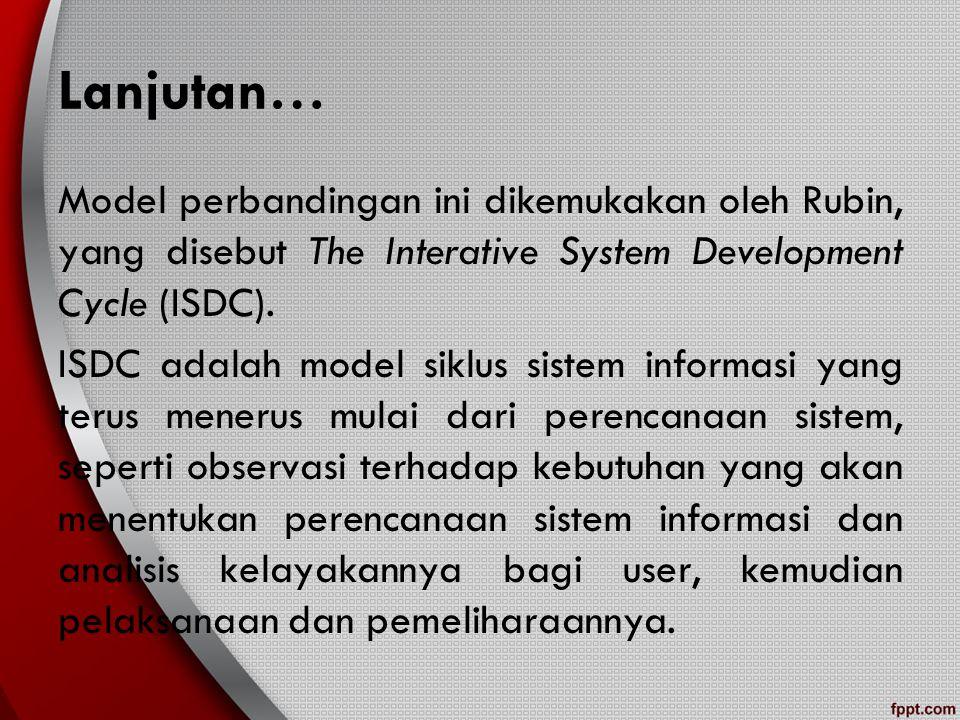 Lanjutan… Model perbandingan ini dikemukakan oleh Rubin, yang disebut The Interative System Development Cycle (ISDC). ISDC adalah model siklus sistem