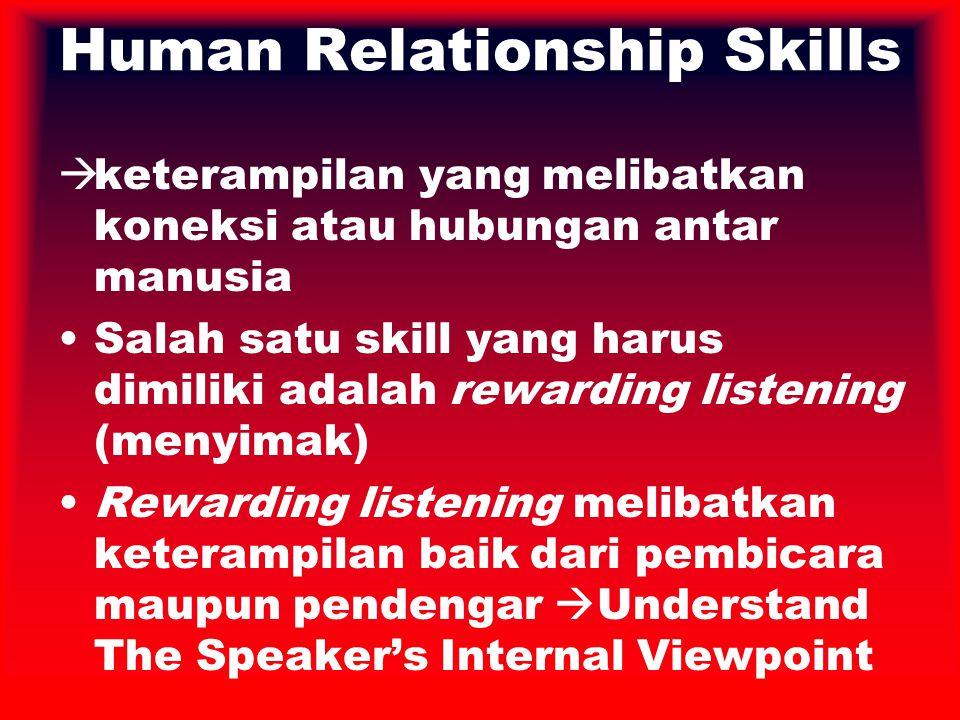 Human Relationship Skills  keterampilan yang melibatkan koneksi atau hubungan antar manusia Salah satu skill yang harus dimiliki adalah rewarding lis