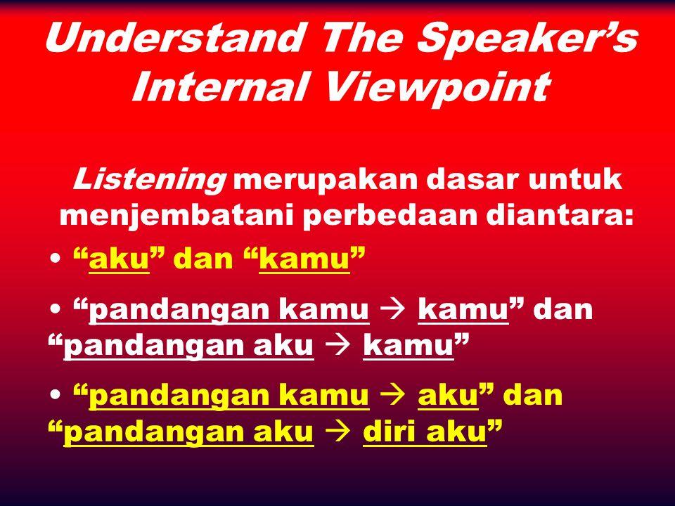 Understand The Speaker's Internal Viewpoint Sudut Pandang INTERNAL: – pandangan kamu  kamu – pandangan aku  diri aku Sudut Pandang EKSTERNAL: – pandangan aku  kamu – pandangan kamu  aku