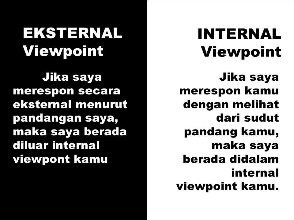 INTERNAL Viewpoint Jika saya merespon secara eksternal menurut pandangan saya, maka saya berada diluar internal viewpont kamu Jika saya merespon kamu