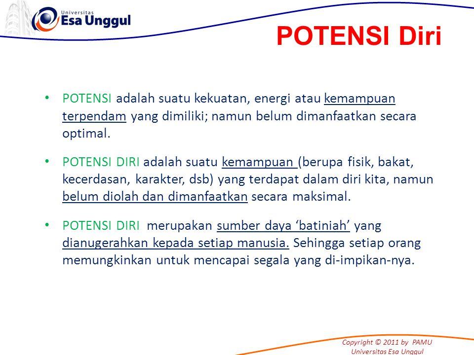 Copyright © 2011 by PAMU Universitas Esa Unggul POTENSI adalah suatu kekuatan, energi atau kemampuan terpendam yang dimiliki; namun belum dimanfaatkan secara optimal.