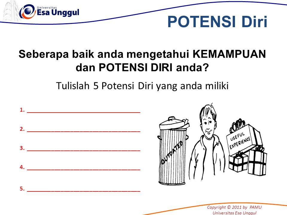 Copyright © 2011 by PAMU Universitas Esa Unggul Seberapa baik anda mengetahui KEMAMPUAN dan POTENSI DIRI anda.