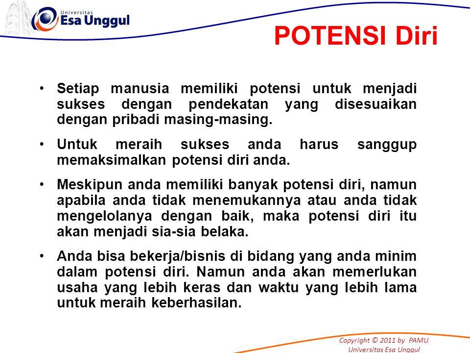 Copyright © 2011 by PAMU Universitas Esa Unggul Setiap manusia memiliki potensi untuk menjadi sukses dengan pendekatan yang disesuaikan dengan pribadi masing-masing.
