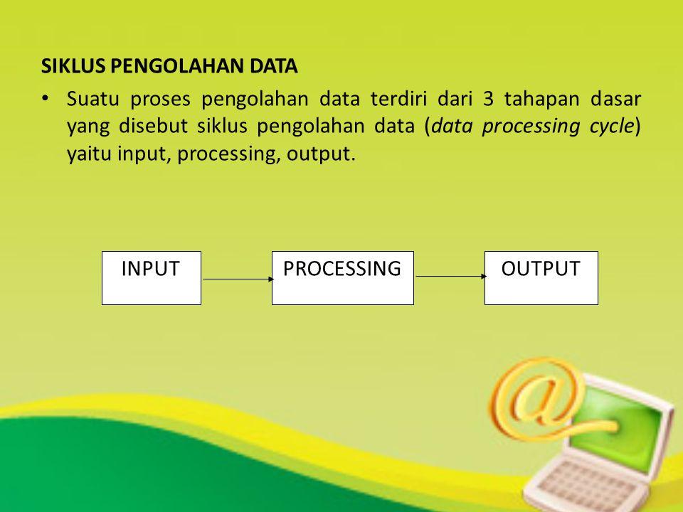 SIKLUS PENGOLAHAN DATA Suatu proses pengolahan data terdiri dari 3 tahapan dasar yang disebut siklus pengolahan data (data processing cycle) yaitu inp