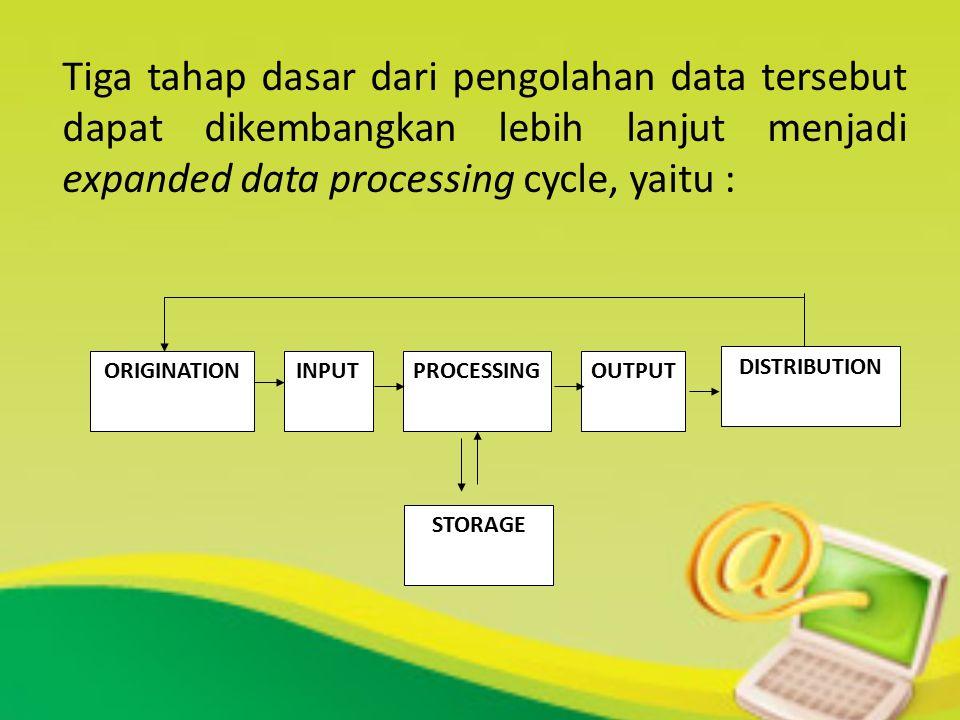 ORIGINATION Tahap ini berhubungan dengan proses dari pengumpulan data yang biasanya merupakan proses pencatatan data ke dokumen dasar INPUT Tahap ini merupakan proses memasukkan data ke dalam proses komputer lewat alat input PROCESSING Tahap ini merupakan proses pengolahan dari data yang sudah dimasukkan yang dilakukan oleh alat pemroses, yang dapat berupa menghitung, membandingkan, mengklasifikasikan, mengurutkan, mengendalikan atau mencari di storage