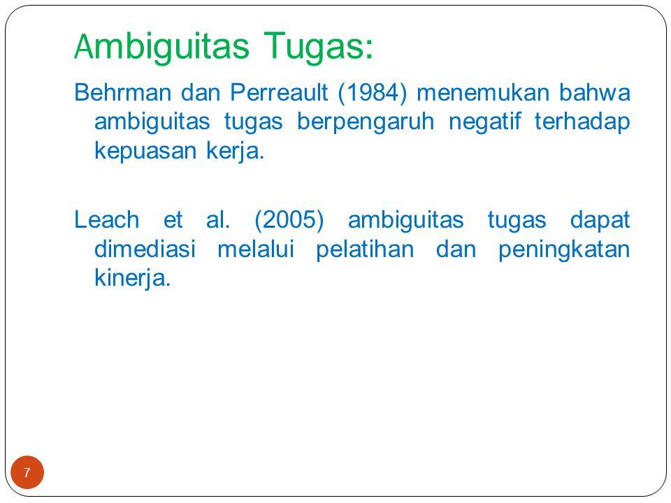 A mbiguitas Tugas : Behrman dan Perreault (1984) menemukan bahwa ambiguitas tugas berpengaruh negatif terhadap kepuasan kerja.