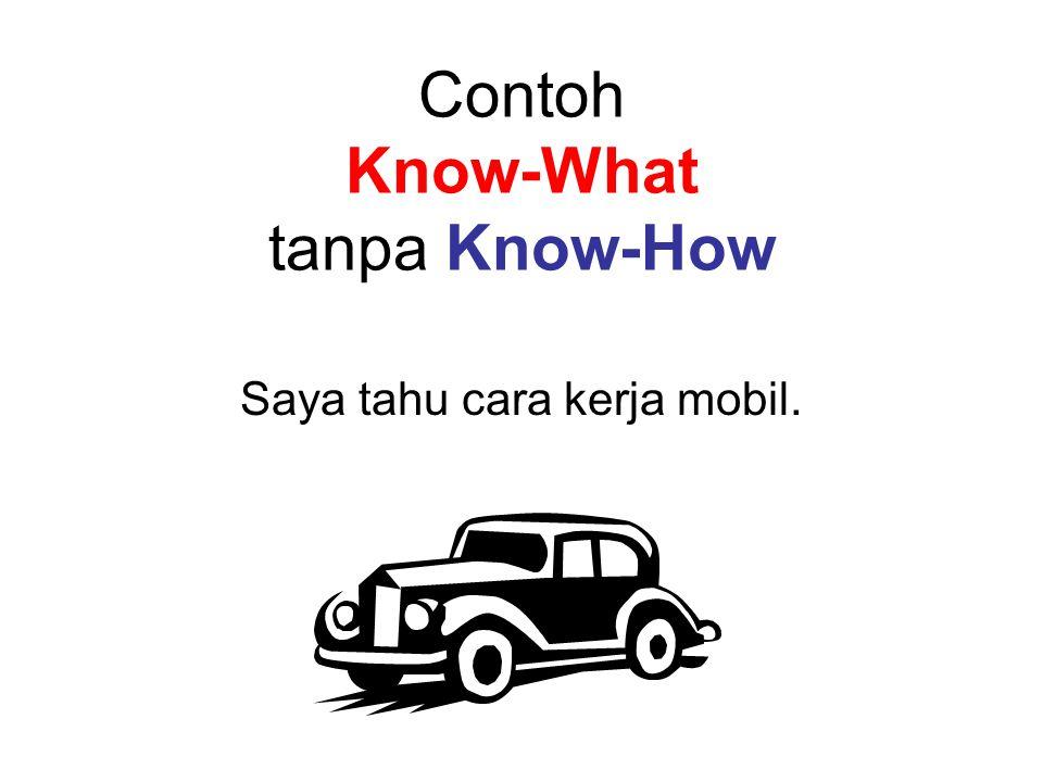 Contoh Know-What tanpa Know-How Saya tahu cara kerja mobil.