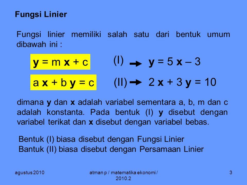 agustus 2010atman p / matematika ekonomi / 2010.2 4 Fungsi Linier y = m x + ca x + b y = c 8 x + 10 y = 25 10 y = 25 – 8 x y = – 0.8 x + 2.5 Masing – masing bentuk dapat diperoleh dari bentuk lainnya.