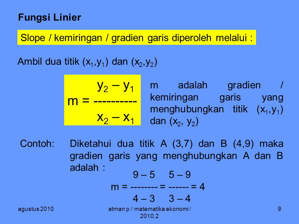 agustus 2010atman p / matematika ekonomi / 2010.2 10 Fungsi Linier Membentuk fungsi linier : Diketahui titik A (x 1,y 1 ) dan gradien m.