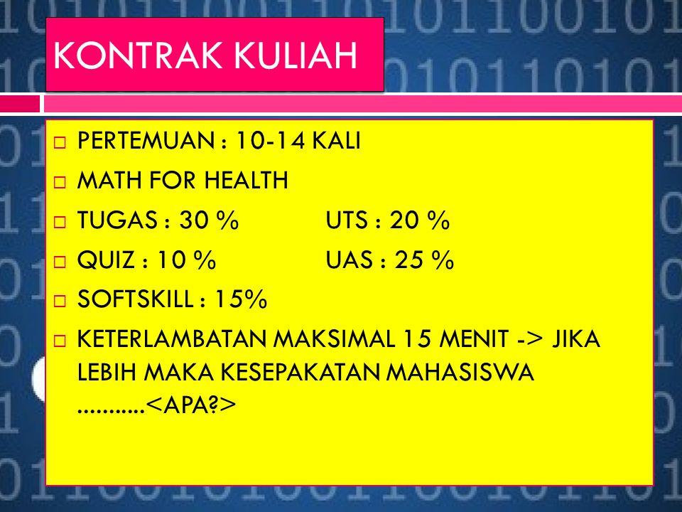 KONTRAK KULIAH  PERTEMUAN : 10-14 KALI  MATH FOR HEALTH  TUGAS : 30 %UTS : 20 %  QUIZ : 10 %UAS : 25 %  SOFTSKILL : 15%  KETERLAMBATAN MAKSIMAL 15 MENIT -> JIKA LEBIH MAKA KESEPAKATAN MAHASISWA...........
