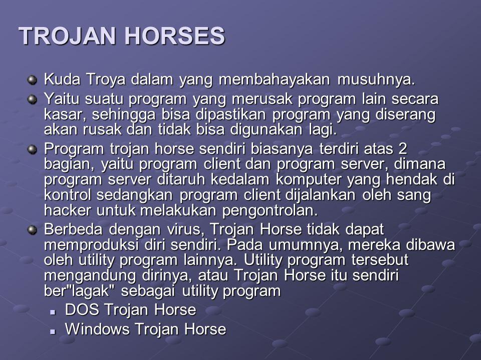 TROJAN HORSES Kuda Troya dalam yang membahayakan musuhnya. Yaitu suatu program yang merusak program lain secara kasar, sehingga bisa dipastikan progra